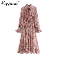 Vintage Floral Print Sashes Ruffled Pleated Dress Women 2019 Fashion Bow Tie Collar Long Sleeve Dresses Casual Vestidos Mujer
