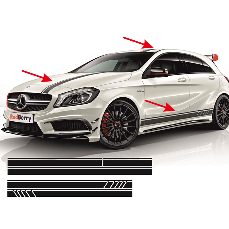 5pcs For AMG EDITION 1 FULL SET STRIPES DECALS SIDES ETC- MERCEDES A45 ACLASS W176 #0131