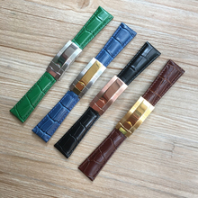 20mm Black Green Brown Blue Crocodile pattern Genuine Leather Watchband For Role Watch Strap Daytona Submariner GMT RX Bracelet