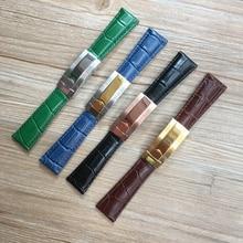 20mm שחור ירוק חום כחול דפוס תנין אמיתי עור רצועת השעון עבור תפקיד שעון רצועת דייטונה צוללן GMT RX צמיד