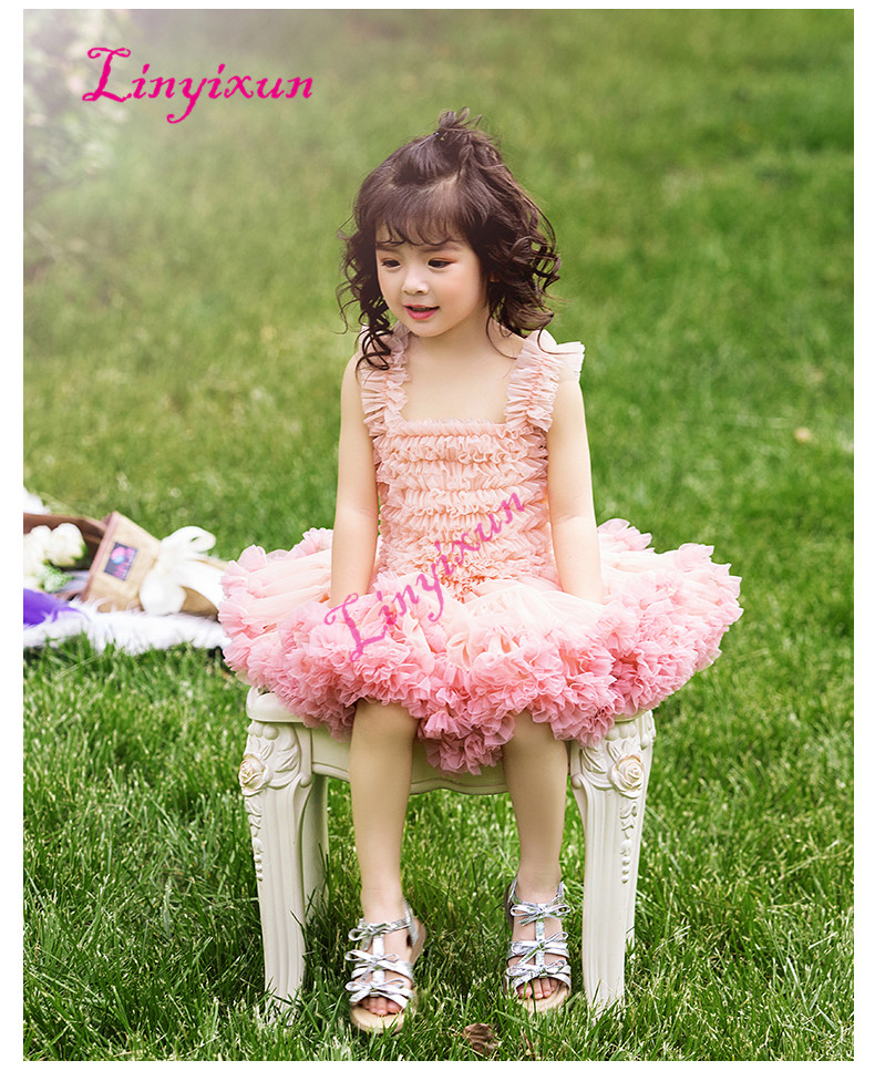 2018 New Ball Gown Tutu Flowers Girl Dress For Wedding Party Bow