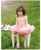 2018 New Ball Gown Tutu Flowers Girl Dress For wedding party Bow Ruffle Formal Tutu Dresses Short Girl's Pageant Gowns
