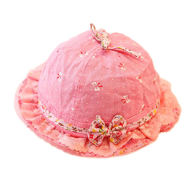 971d71eb620 Baby Summer Cotton Bucket Hat Baby Girl Princess Flower Lace Bow Sun Cap  Kids Outdoor Beach