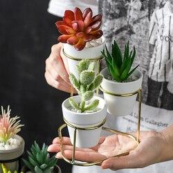 Mini 3 em 1 plantadores de cerâmica moderno pequeno vasos de flores com ouro preto metal stands decorativos ornamentos mesa decoração para casa