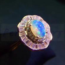 Кольцо из натурального аутического опала,, Стерлинговое Серебро 925 пробы, 0.5ct, драгоценный камень, ювелирные изделия, роскошный стиль# J8101914