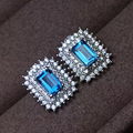 Classic 925 silver stud earrings luxurious natural light blue topaz earrings for woman gift solid 925 sterling silver earrings