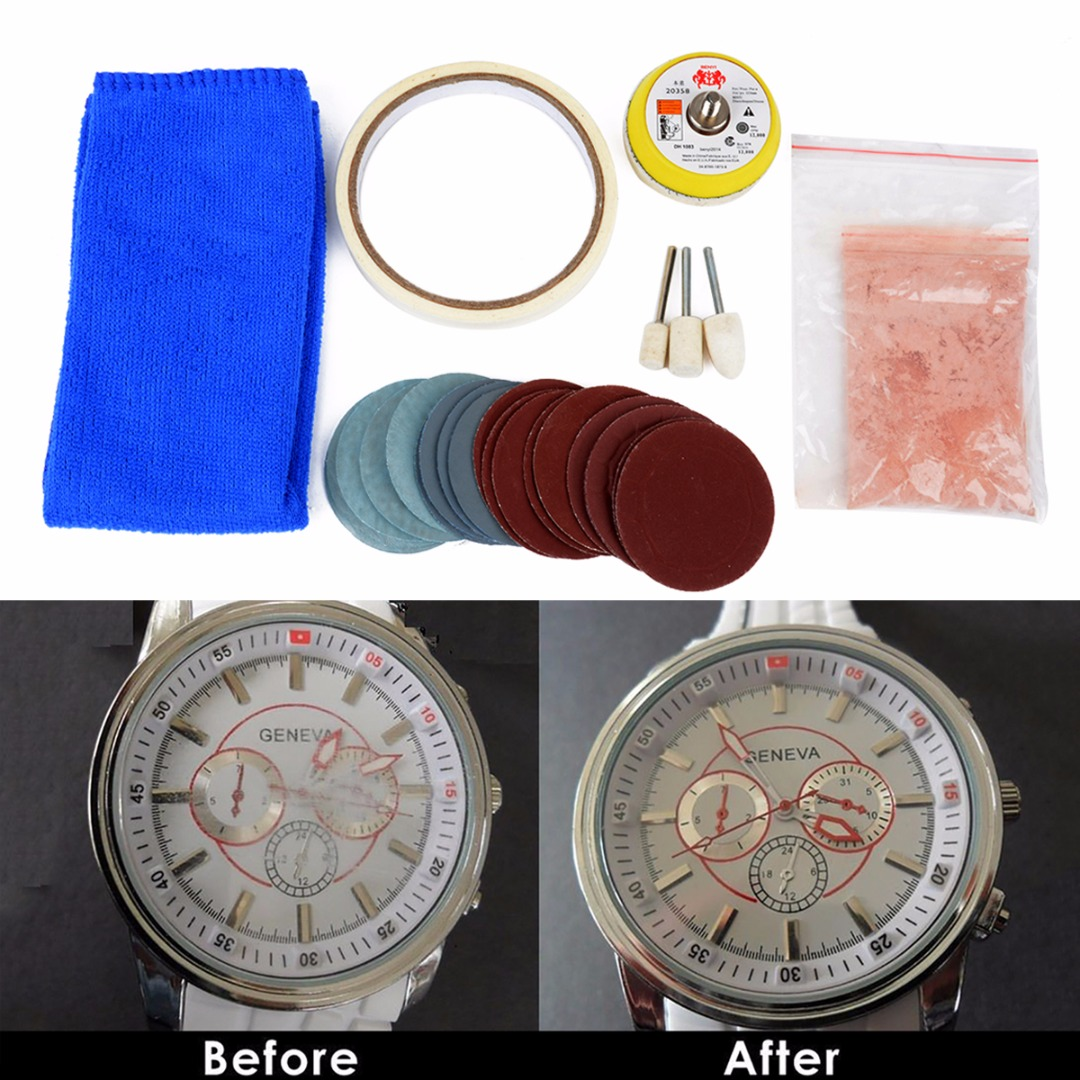 19pcs Mayitr Watch Glass Polishing Pad Kit Acrylic Crystal Glass Scratch Removal Set With 20g Cerium Oxide Powder Sanding Paper