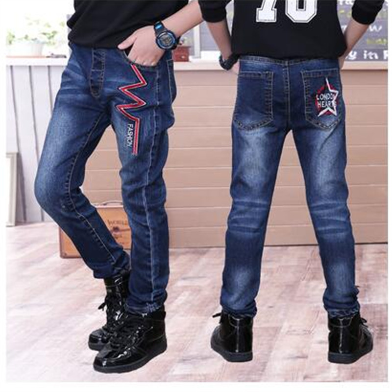 Children's wear jeans Autumn and winter children's jeans large Boy casual trousers Plus velvet thick feet pants 6 extra large new jeans woman version jeans trousers tight women jeans feet pencil pants pants high waist jeans plus size page 1