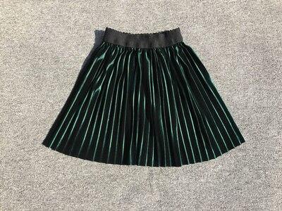 New velvet pleated skirt knee long girls skirt summer winter casual smooth skirt girl tutu high waist elastic pleated skirt 2