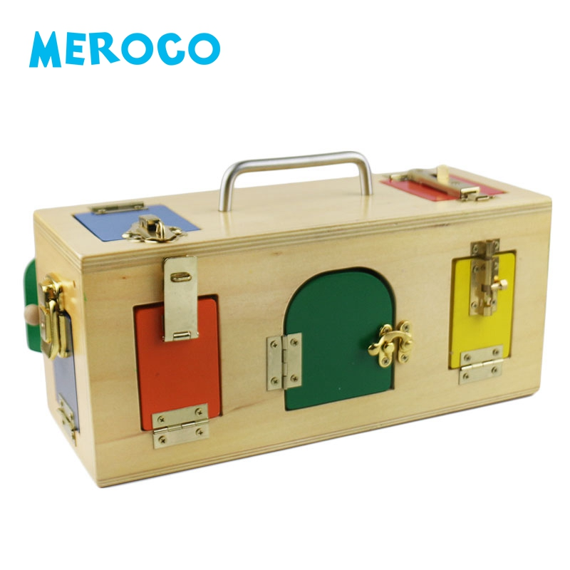 Wooden Montessori Toys Ducational Games Colorful Lock Box Juguetes Montessori Materials Preschool Learning Wooden Toys B1227T montessori interests of wooden toys multi function box learning children present wooden blocks