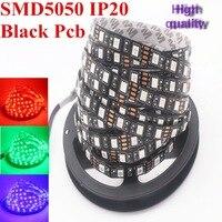 Black PCB 5050 LED Strip DC12V IP22 NO Waterproof 60LED M 5m Lot 44 KEY 12V