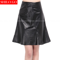 Plus size 2017 autumn winter fashion women high quality sheepskin high waist office OL trumpet black leather skirts 3XL
