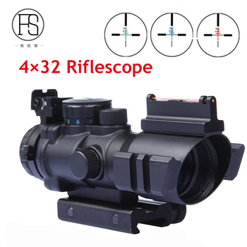 Tactical 4X32 Rifle Sight Red Or Green Fiber Source Duel Illuminated Rifle Scope Sight Hunting Airsoft Rifle Scope For Sale