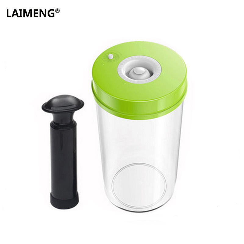 LAIMENG Household Food Vacuum Containers 1600ML Vacuum Sealer Machine Fresh Keeping Canisters greenco mini food storage containers condiment and sauce containers baby food storage and lunch boxes leak resistant 2 3 oz each round containers set of 20