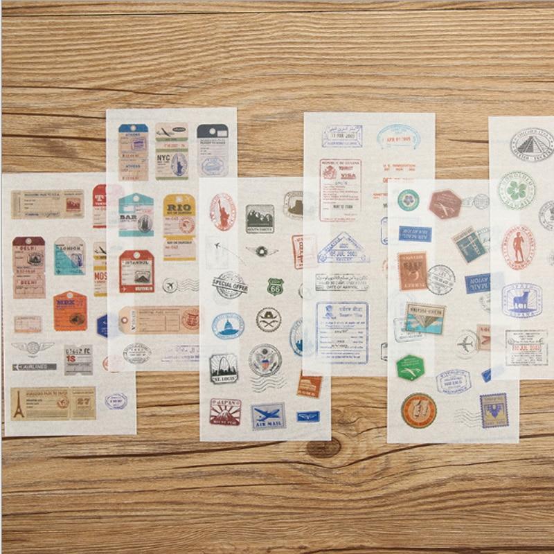 Купить с кэшбэком 6pcs/lot Cute Creative Vintage stamp diary sticker child diy toy scrapbooking planner sticker post kawaii stationery