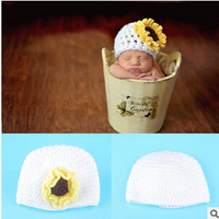 2016 new children's baby photo props handmade hat sunflowers sunflower flower baby hats hand-knit wool cap child