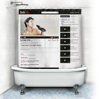 Cortinas De Baño A Prueba de Agua Moho cortina de ducha de la Página Web de Youtube creativo Resistente de Poliéster Cortina de Ducha 12 Ganchos 180*180 cm