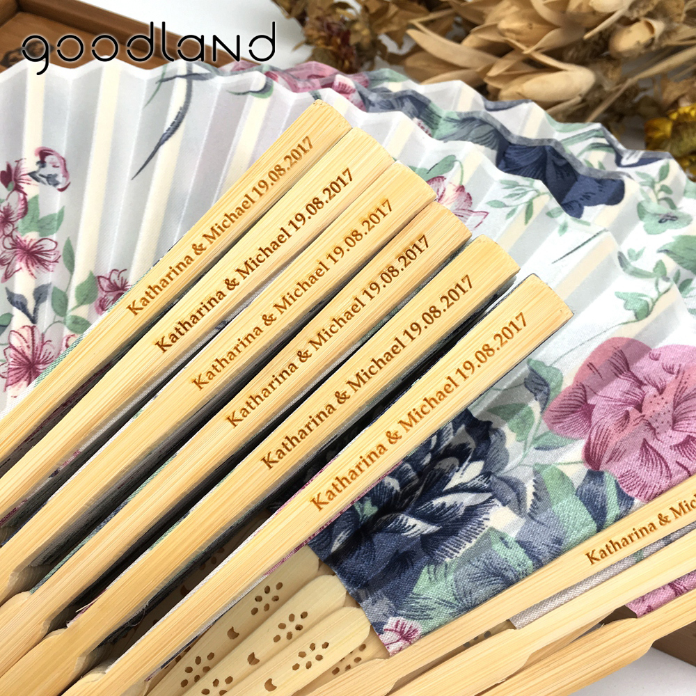 Free Shipping 30pcs/lot Hot Sale Engraving Personalized Wedding Souvenir Beauty Fabric High Quality Hand Fans