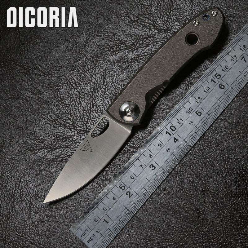 DICORIA District 9 E190 tactical Folding knife 14C28N blade titanium Outdoor suvival camping Hunting Pocket knives