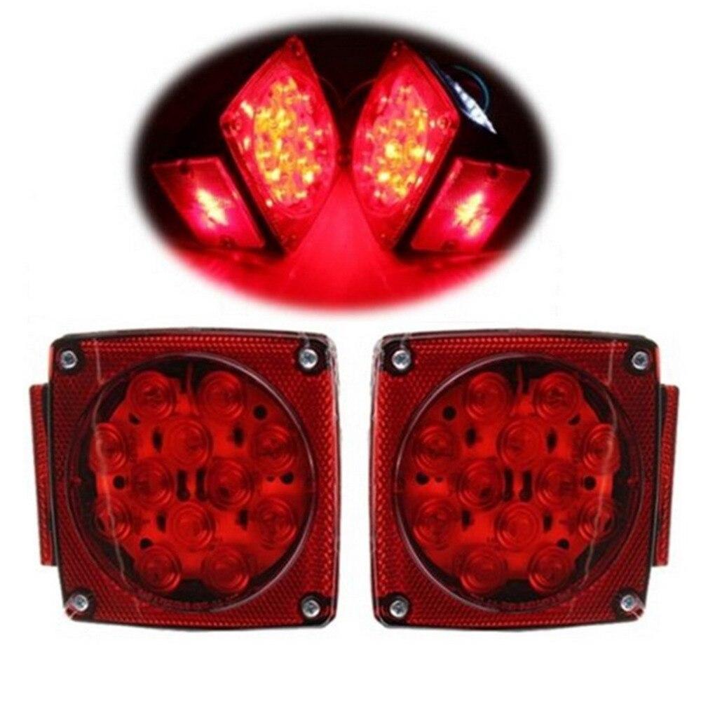 2 Pieces LED DC 12V Waterproof Car Truck Trailer Stop Brake Light Side Marker LED Rear Tail Light Warning Light Lamp Hot