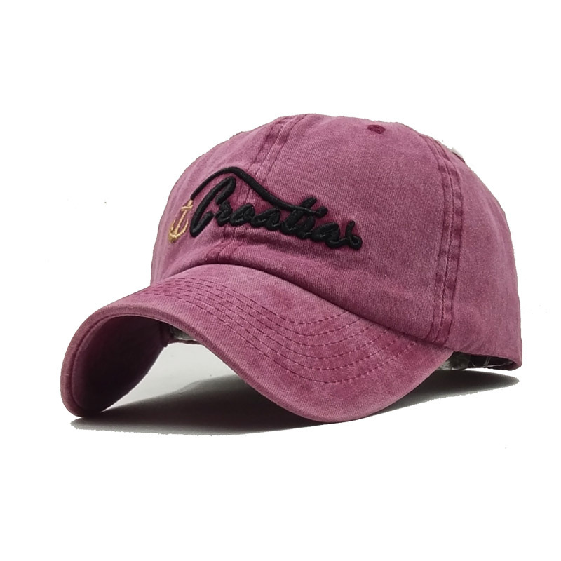 2018 Hat Solid Washed Baseball Caps Women and  Men  Letter Embroidery Couple Cap Pink Black Trucker Hat Baseball cap Edged visor