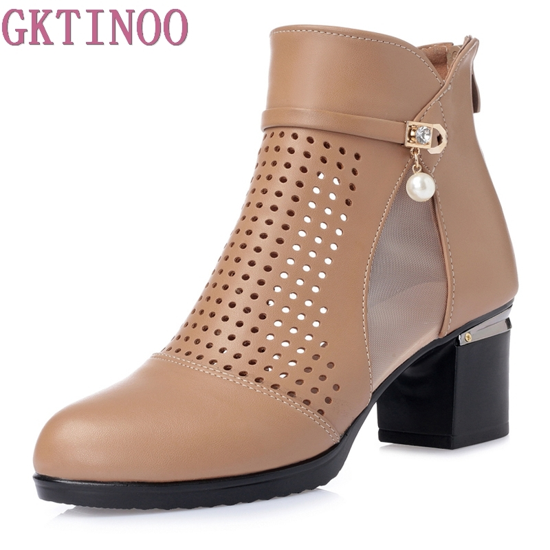 GKTINOO New Summer Ankle Boots For Women Fashion Cut-Outs Sandals Ladies Thick High Heels Shoes Leather Woman Plus Size 35-43 2018 summer new genuine leather women slippers sexy cut outs high heels shoes fashion slides natural leather sandals for women