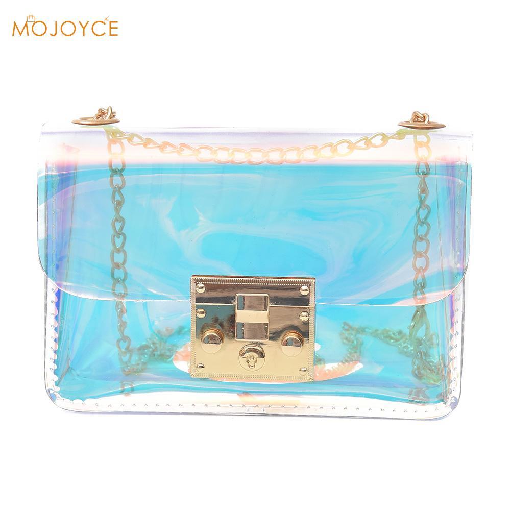 2018 Women Leather Handbags PVC Mini Chain Bag Female Laser Transparent Shoulder Crossbody Bag Shopping Tote Women Bag Bolsa