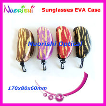 10pcs Big Size Nice 4 Colors Pattern Zipper Eyeglasses Glasses Sunglasses Eyewear EVA Case Box ML022 Free Shipping