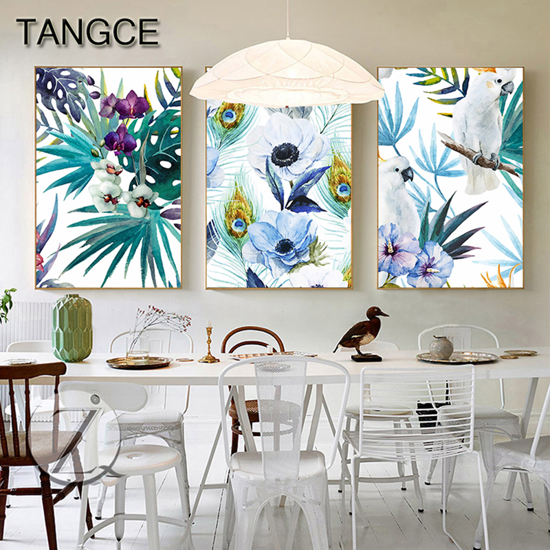 Nordic Plant Heaven Bird Canvas Painting Purple Flower Posters Prints for Living Room Romantic Wall Art Picture Affiche Salon(China)