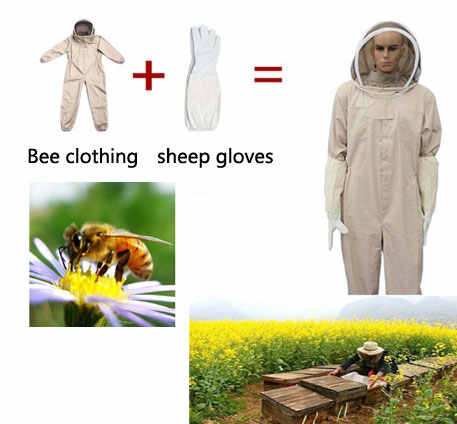 Unisex anti bee clothing Cotton Beekeeper Bee clothing bee caps +1pair  sheepskin gloves Apiculture Costume ,white /grey color