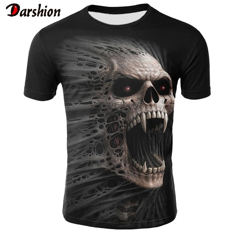 Hot Sale 3D Skull Printed T-shirt Men Summer Fashion Short Sleeve Tshirt Breathable Funny Men T Shirt Halloween Tops&Tees
