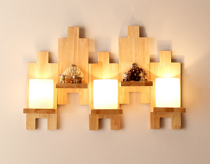 Dynamic Oak Modern Wooden Wall Lamp Lights Wood+glass E27 For Bedroom Home Lighting,wall Sconce Solid Mosaic Wooden Wall Light Lamparas Mild And Mellow Lamps & Shades Wall Lamps