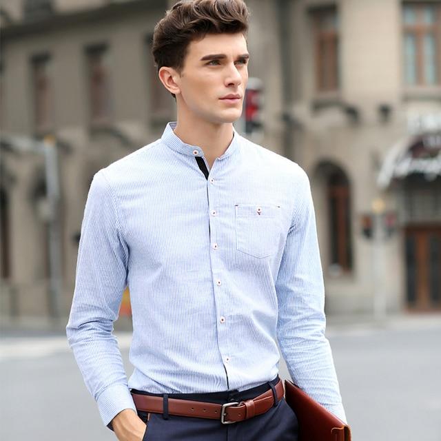 Moda Hombre a rayas Camisa hombres Dress Slim Fit corea