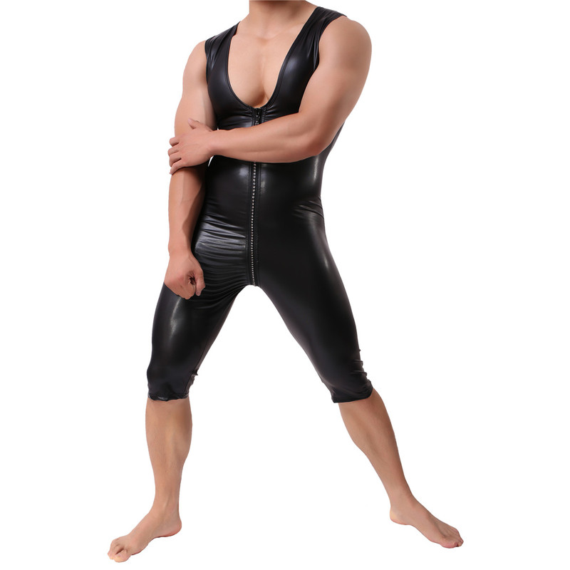 Hommes Sexy combishort Sexy gaine Latex catsuit Zipper PU cuir Sexy Lingerie Teddies sous-vêtements hommes Costumes Clubwear
