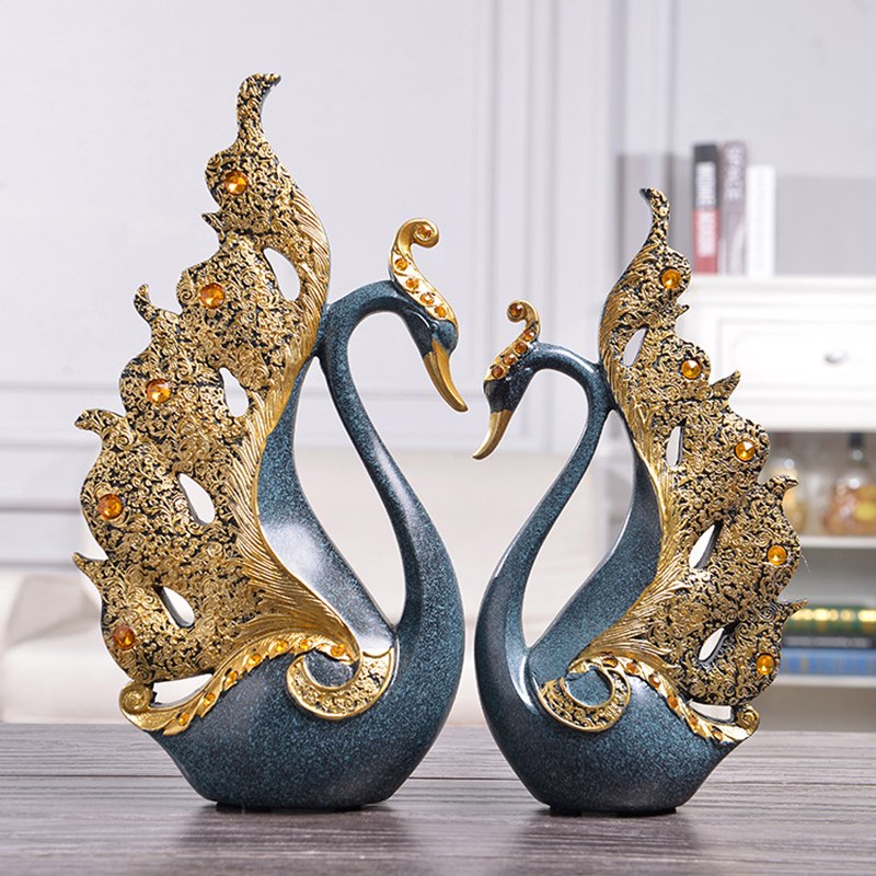 2Pcs set Creative Resin Diamond Couple Swan Statue European Style Home Decoration Ornaments Desktop Crafts Sculpture