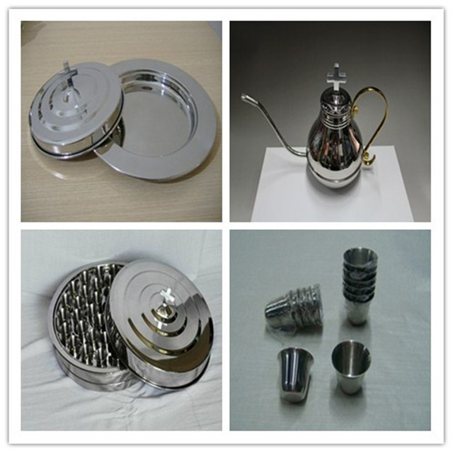 Hot Set Silvertone Stainless Communion Base Tray Lid 40 Stainless