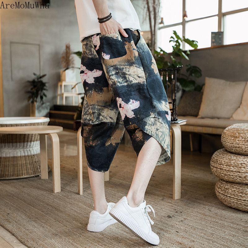 Aremomuwha Trousers Pants Cropped Printing Loose Chinese-Style Wide Summer Beach Leaf