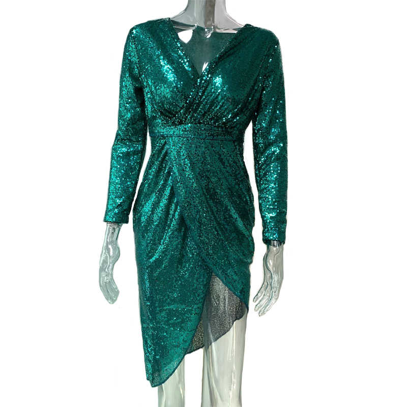e04c988b6c55 ... Sexy Club Wear Party Dress Women Silver V Neck High Slit Long Sleeve  Sequin Dress Autumn ...