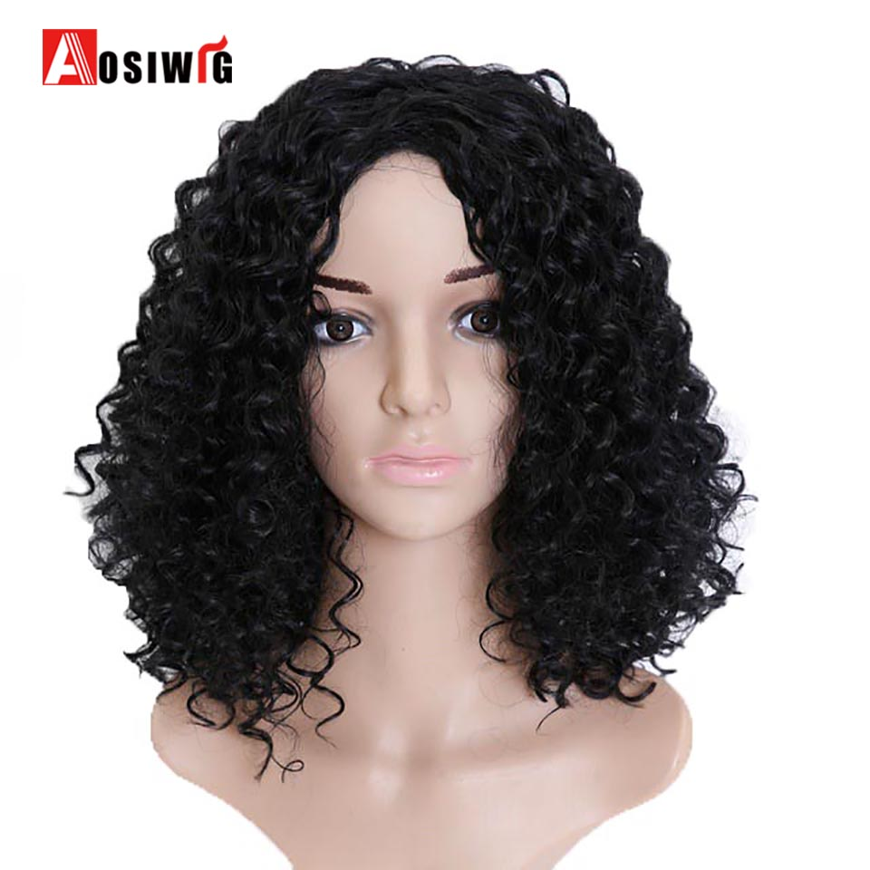 AOSIWIG Afro Kinky Perruque Synthétique Perruque