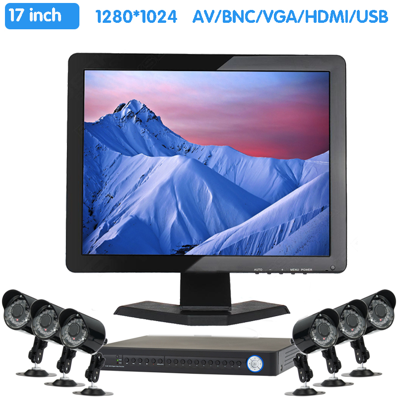 Zhixianda 17 Inch 1280x1024 TFT LCD CCTV HDMI HD Monitor Color Screen with BNC/VGA/AV/HDMI/USB Interface, Built-in Speaker