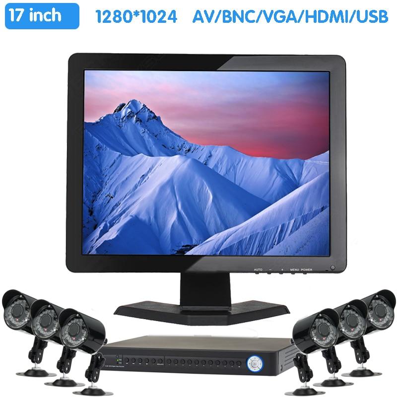 Zhixianda 17 pouces 1280x1024 TFT LCD CCTV HDMI HD moniteur écran couleur avec Interface BNC/VGA/AV/HDMI/USB, haut-parleur intégré