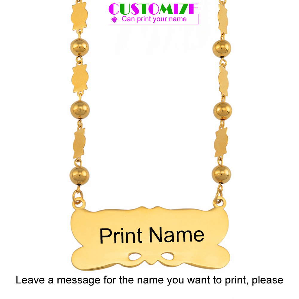 Anniyo Customize Name Pendant & Beads Necklaces Women Personalise Marshall Guam Hawaii Islands Jewellery Micronesia Gift #054021
