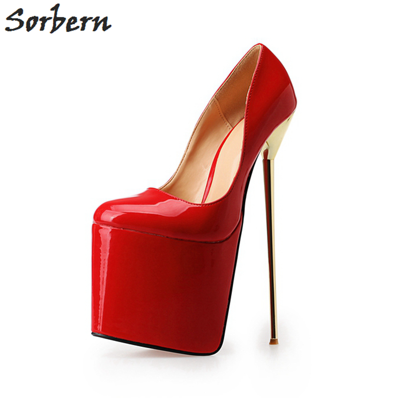 sorbern unisex shoes plus size 40 50 pump women shoes slip on gold metal high heels 22cm. Black Bedroom Furniture Sets. Home Design Ideas