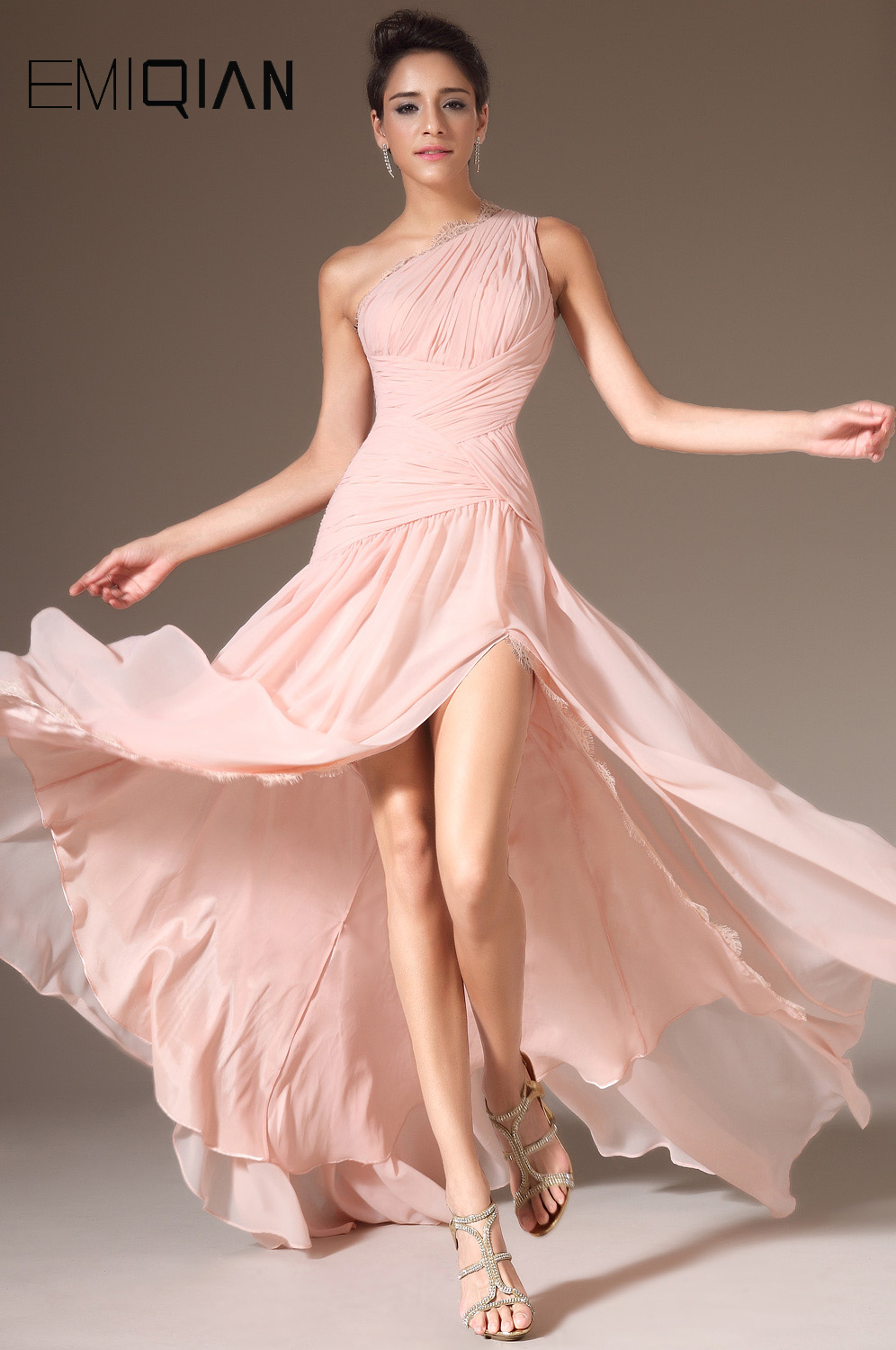 Free Shipping Long Elegant One Shoulder Pink Chiffon Evening Gowns ...