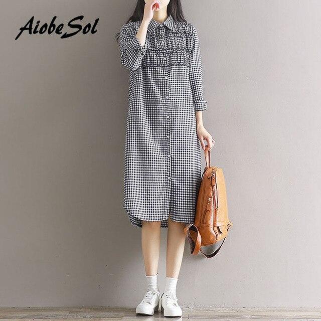 Preppy Cotton Linen Dress 2017 Spring New Japanese Mori Girl Vintage Plaid Long  Sleeve Single Breasted Maxi Long Bottom Dress 464a754a3384