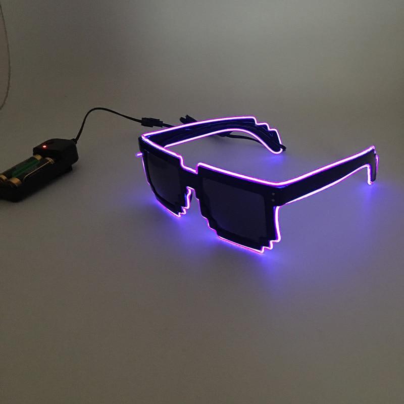 f9b099ccd 2018 DIY cor Pixel de óculos Light Up El Fio Led Piscando Rave Party Bar  Eyeswear