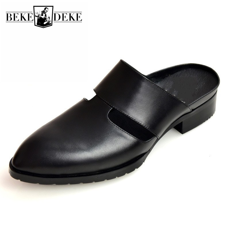 Brand Casual Men Slipper Genuine Leather Italian Dress Sandals Pointed Male Shoes Summer Designer Beach Sandals Mocassin Homme(China)