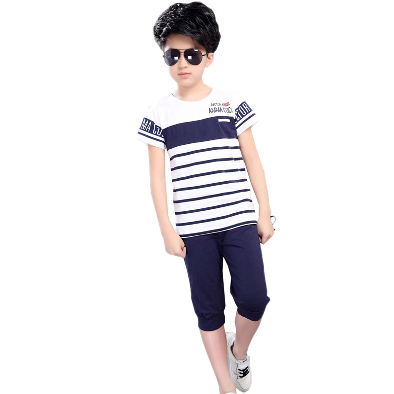 Children clothing 2018 summer striped short sleeve T shirt + shorts pants 2pcs suit boy clothing set teenager boy sports suits
