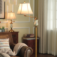 Hand Drawn Lavender Pattern Living Room Floor Lamp Atmosphere Rotate 320 Dergrees Rocker Arm Study Bedroom Decoration Floor Lamp