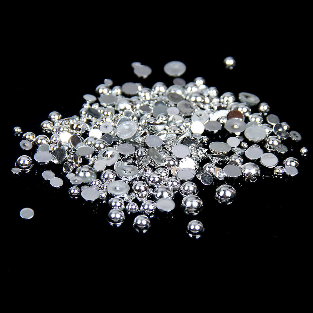 2-5mm And Mixed Sizes Silver Resin Rhinestones Half Round Pearl Nail Beads 3D Nail Jewelry Design Decorations Nail Art Supplies
